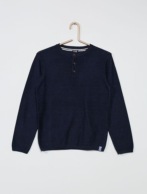 Maglione con collo serafino                                                     blu