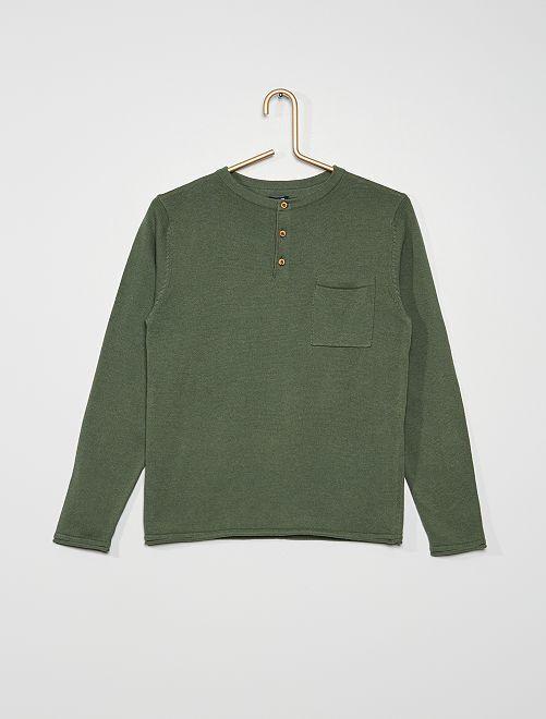 Maglione con collo serafino                                                                                                     verde scuro