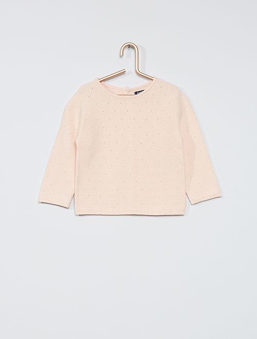 Maglione in cotone traforato                             ROSA
