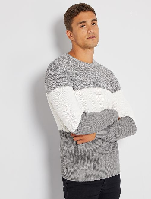 Maglione in maglia color block                                                     bianco neve