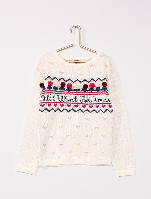 Maglione natalizio in maglia leggera                             BEIGE