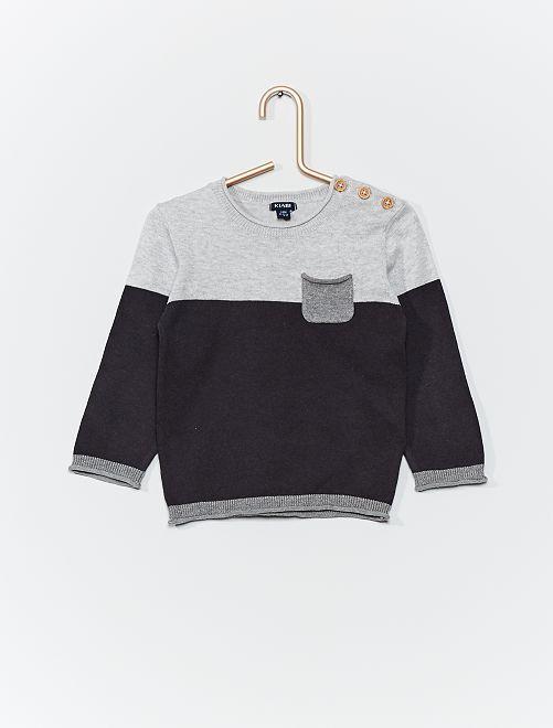 Maglione tricolore in maglia                                         grigio scuro