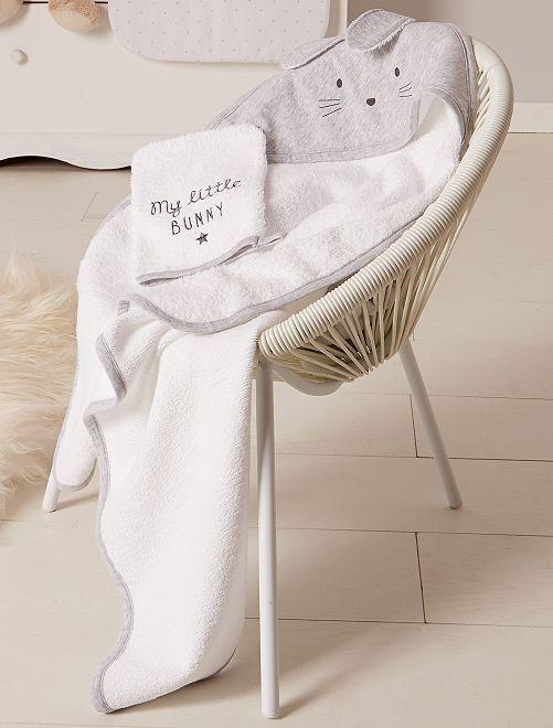 Mantella da bagno e guanto 'coniglio'                             GRIGIO Neonata