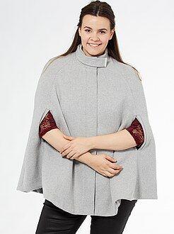 Taglie forti donna Mantella effetto panno di lana collo montante