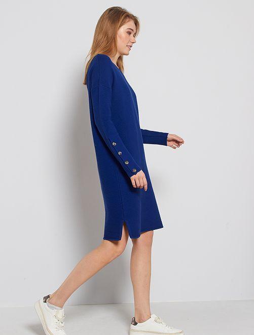 Maxi maglia a costine                             blu