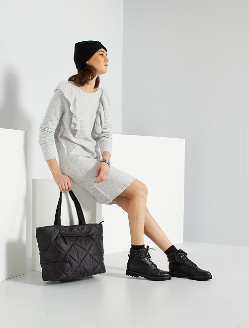 Maxi pull con lana                             GRIGIO