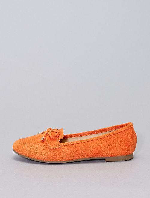Mocassini in finto camoscio                                         arancione