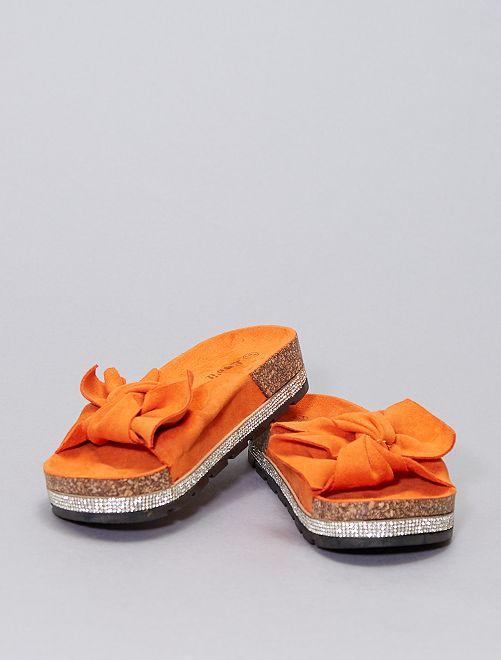 Mules in pelle scamosciata                     arancione