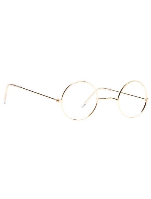 Occhiali rotondi in metallo senza lenti                             dorato