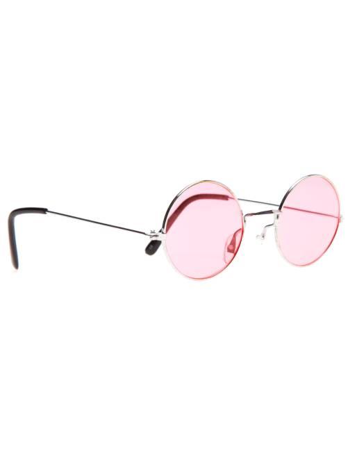Occhiali rotondi travestimento hippie                                                                 rosa