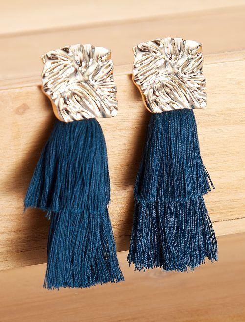 Orecchini con frange lunghe                                         BLU Donna