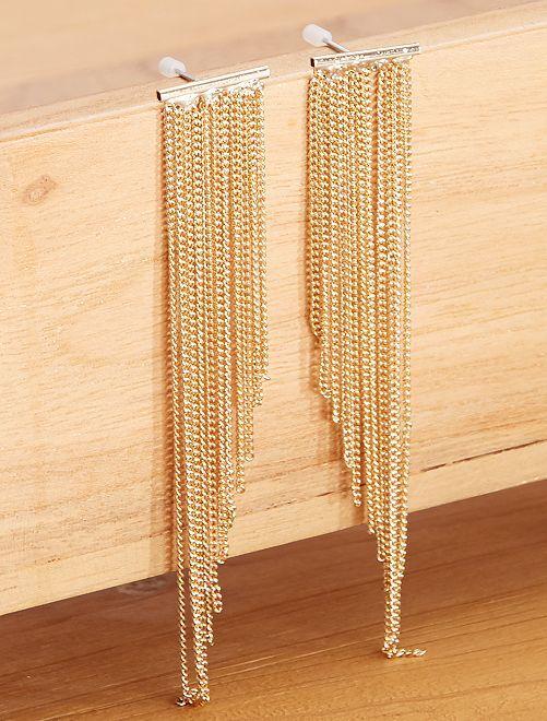 Orecchini pendenti multicatena                             dorato
