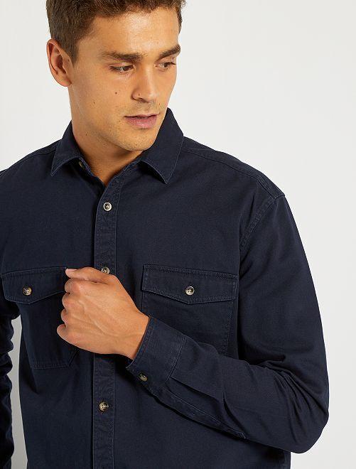 Overshirt in twill pesante                                         BLU