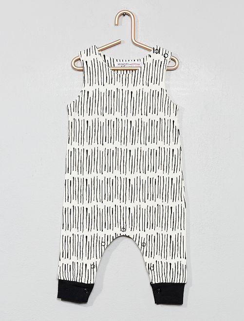 Pagliaccetto stampato cotone bio                             beige/nero Neonato