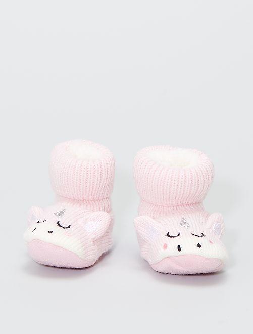 Paio di pantofole in maglia a costine                                         rosa