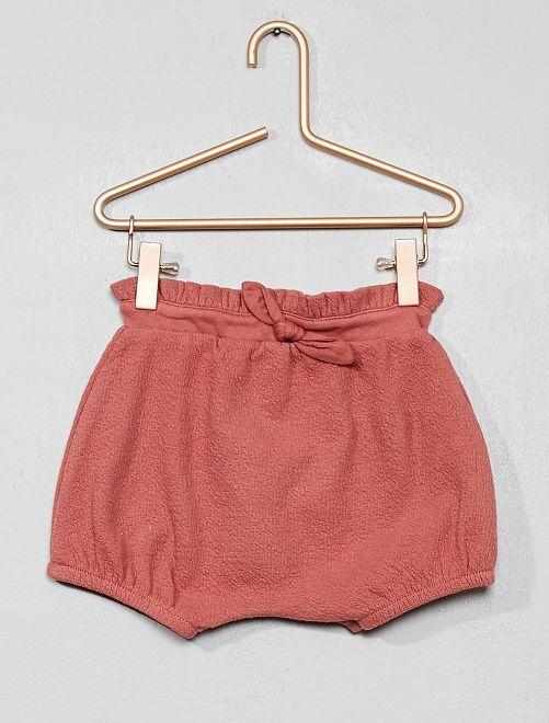 Pantaloncini a sbuffo goffrati                             ROSA Neonata