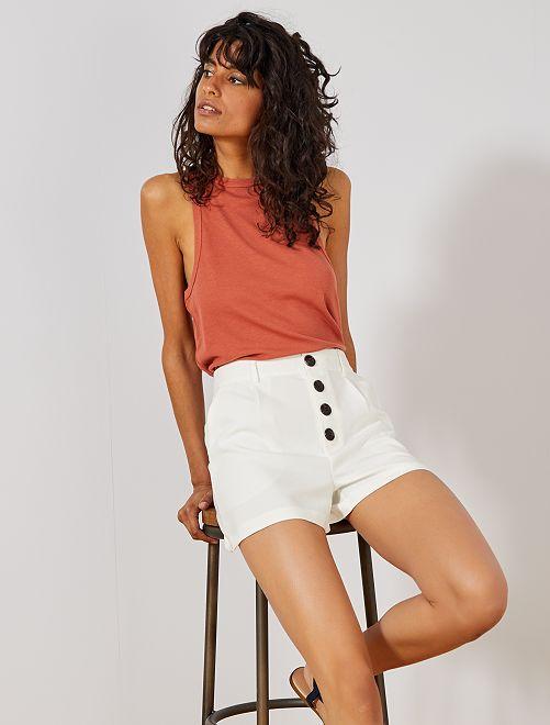 Pantaloncini abbottonati                                                                 bianco neve Donna