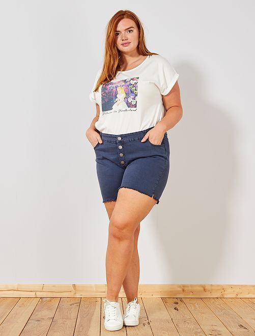 Pantaloncini abbottonati denim                                         blu Taglie forti donna