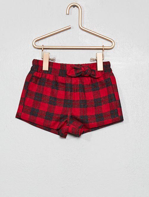 Pantaloncini con fiocco fantasia                                                     ROSSO Neonata