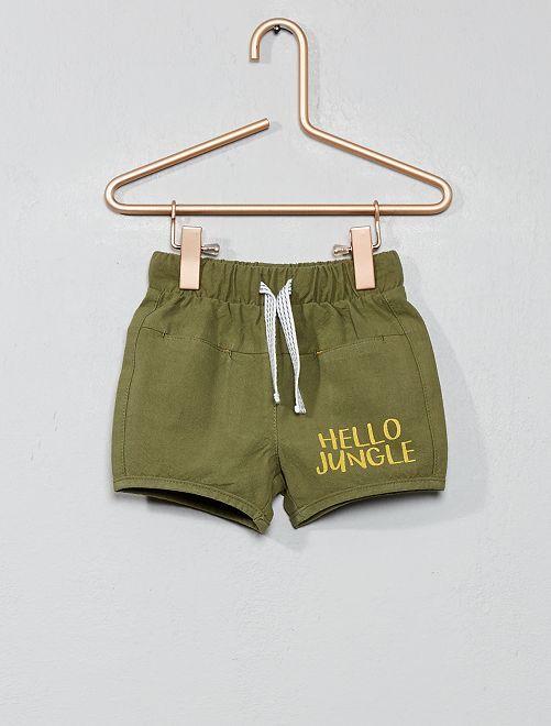 Pantaloncini con patch 'leone'                             VERDE Neonato