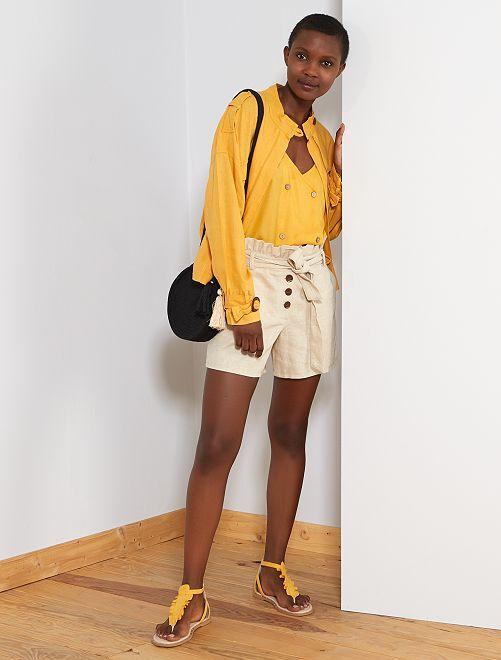 Pantaloncini cotone e lino                             beige Donna