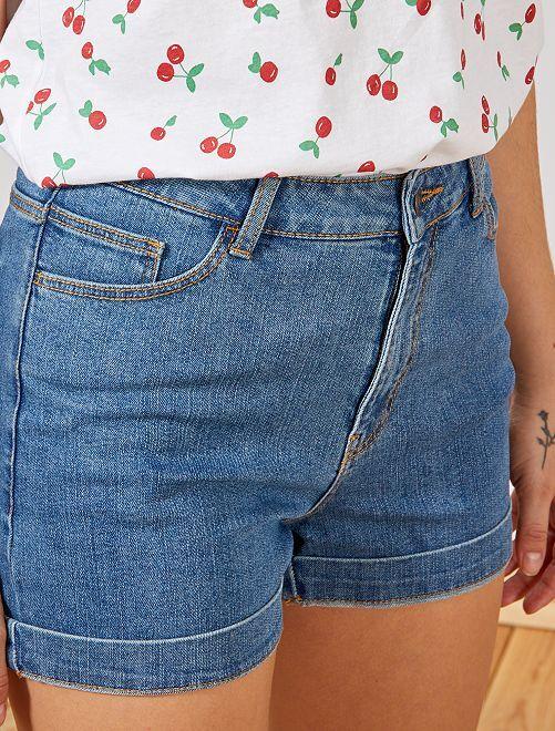 Pantaloncini denim cotone bio                                                     BLU Donna