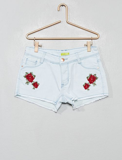 Pantaloncini denim 'fiori'                             denim