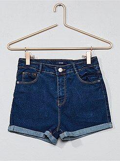 Bambina 10-18 anni - Pantaloncini denim vita alta - Kiabi