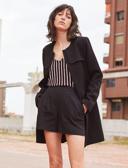 Pantaloncini dritti raso di cotone                             nero Donna
