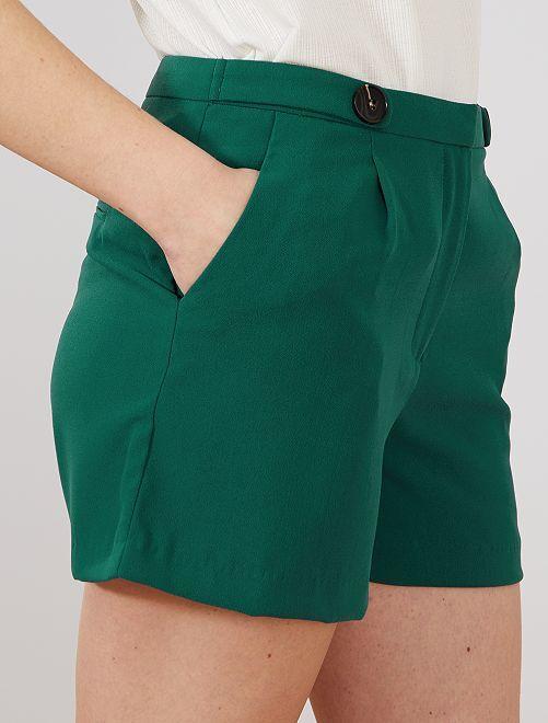 887b71a798102f Pantaloncini eleganti crêpe Donna - verde scuro - Kiabi - 8,00€