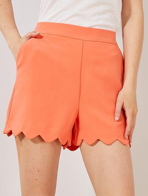 Pantaloncini finitura corolla                                                                                         arancio corallo