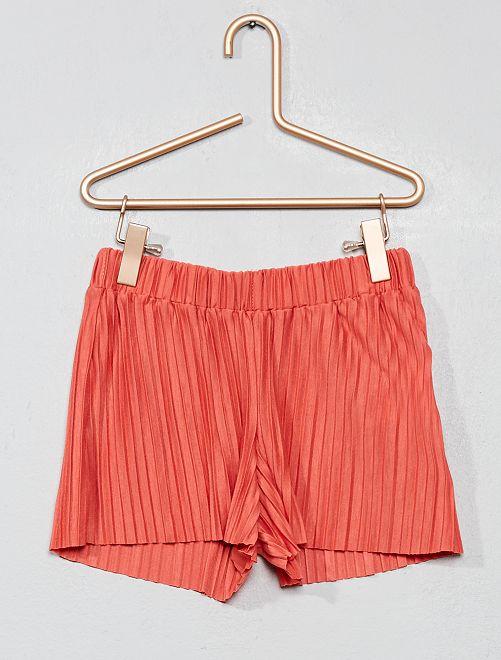 Pantaloncini fluidi crespati                                                     rosa antico