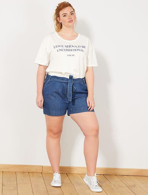 Pantaloncini fluidi denim                             BLU Taglie forti donna