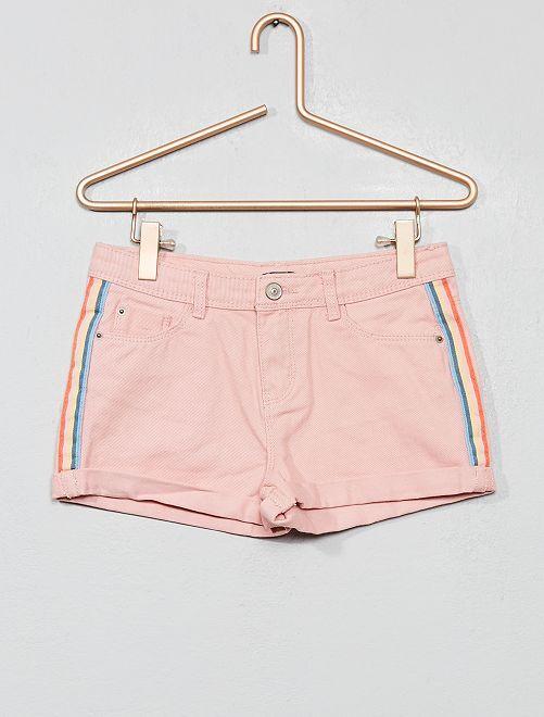 Pantaloncini jeans con strisce                                                     ARANCIONE