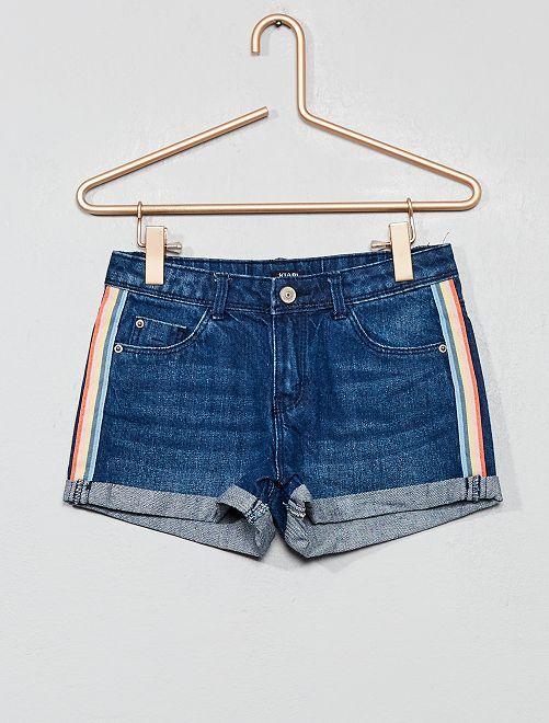 Pantaloncini jeans con strisce                                                     BLU