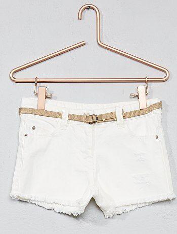 Bambina 3-12 anni - Pantaloncini jeans destroy + cintura - Kiabi
