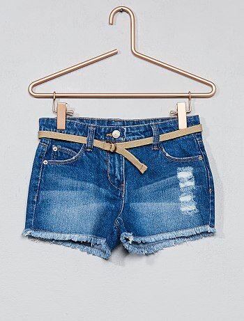 Pantaloncini jeans destroy + cintura - Kiabi