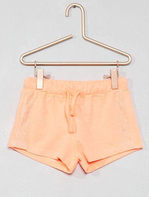 Pantaloncini maglia dettaglio pizzo                                                     arancione Infanzia bambina