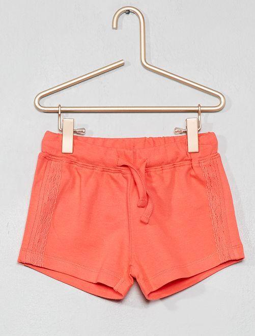 Pantaloncini maglia dettaglio pizzo                                                     corallo Infanzia bambina