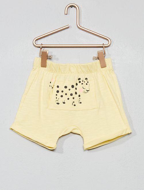 Pantaloncini maglia fiammata 'leopardo'                                         GIALLO Neonata