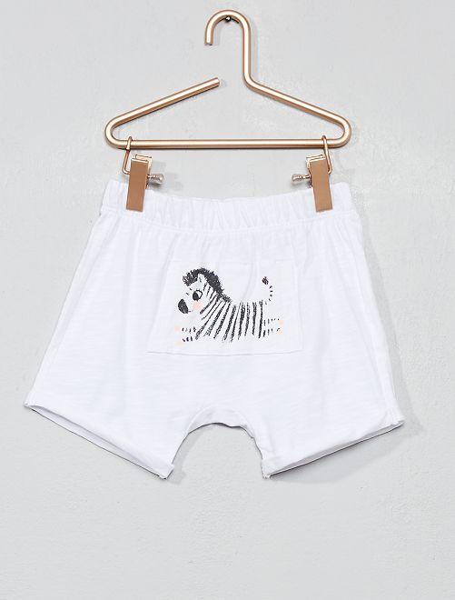 Pantaloncini maglia fiammata 'zebra'                                                     BIANCO Neonata