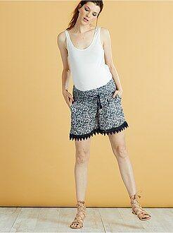 Abbigliamento premaman - Pantaloncini premaman creponne stampa fiori