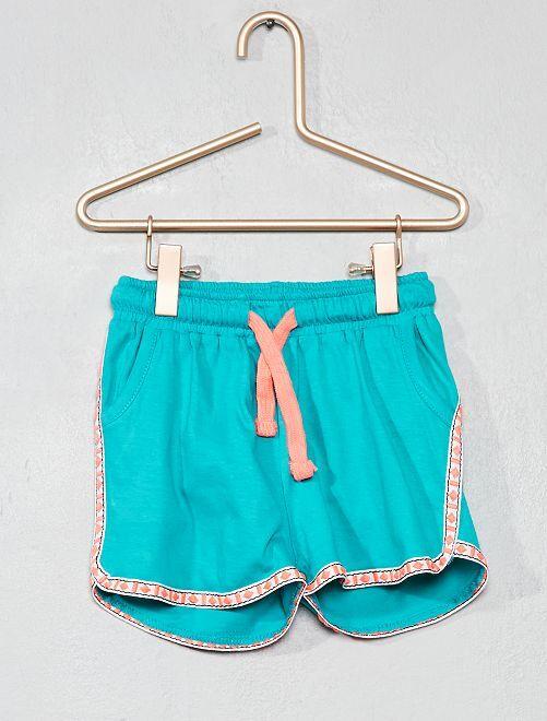 Pantaloncini ricamati puro cotone                                                                 VERDE Infanzia bambina