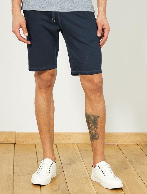 Pantaloncini sport tessuto felpato                                 blu Uomo