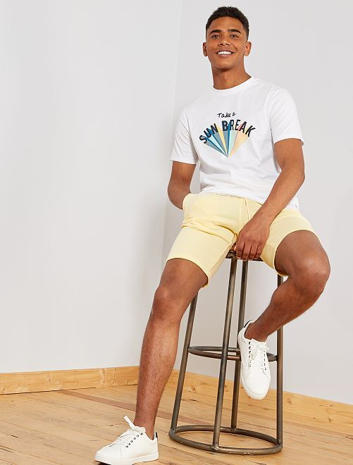 Pantaloncini sport tessuto felpato                                                                                                     GIALLO Uomo