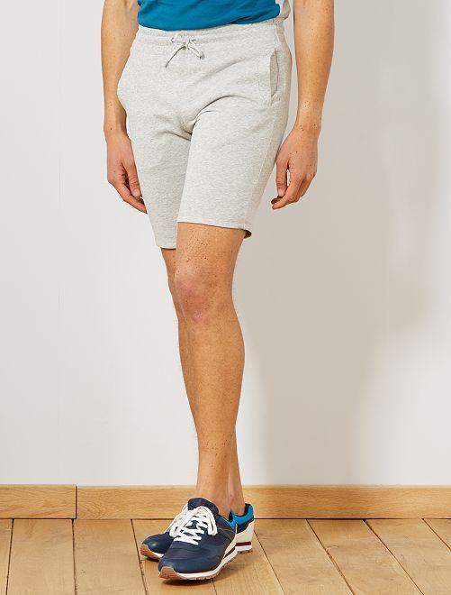 Pantaloncini sport tessuto felpato                     GRIGIO