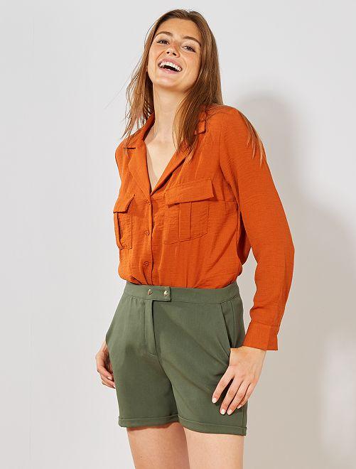 Pantaloncini stretch tinta unita                                                                  verde timo