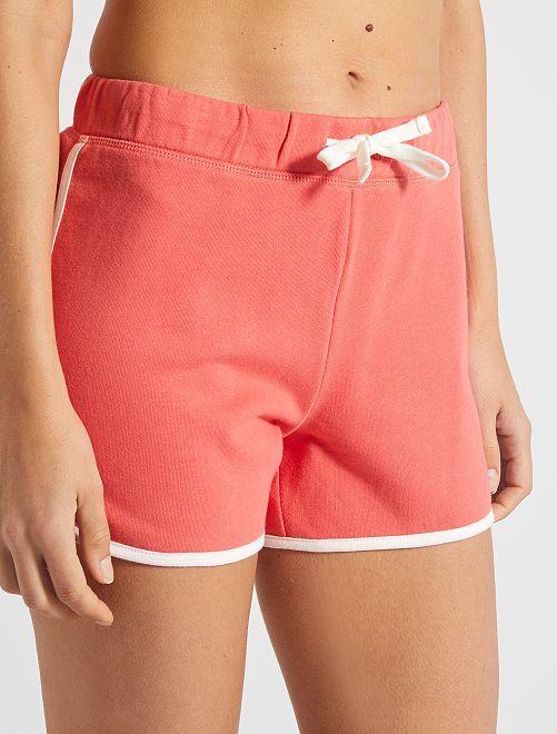 Pantaloncini tessuto felpato                                                                                                     rosa arancione