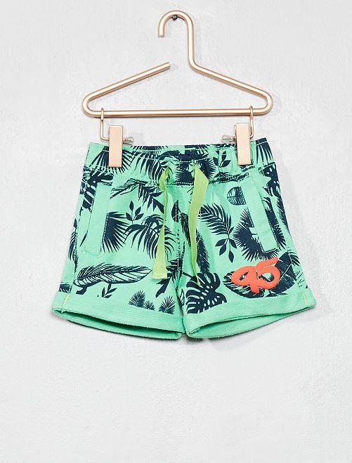 Pantaloncini tessuto felpato stampa 'foglie'                                         VERDE Neonato