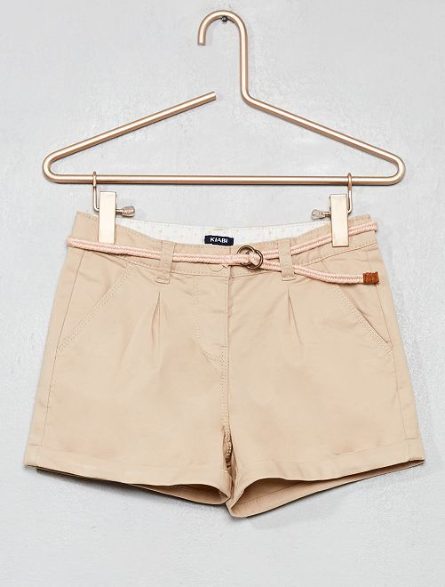 Pantaloncini tinta unita + cintura intrecciata                                                                                                                 BEIGE Infanzia bambina